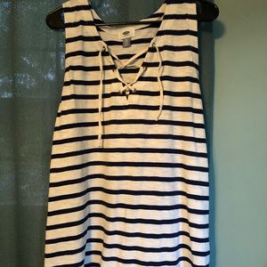 💙Navy & White Striped Lace Up Tank⚓️